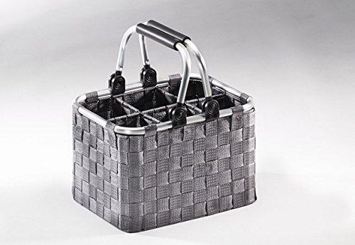 Panier à bouteilles 6 compartiments en cadre gris Rattano