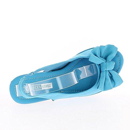 Sandali blu tacco 14cm e vassoio con nodo