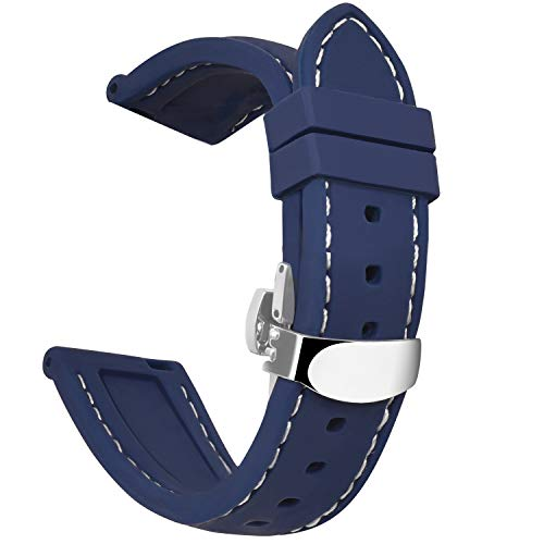 OLLREAR Silicone Watch Strap Replacement Rubber Watch Band Steel Butterfly Deployant Clasp -8 Colors & 5 Sizes - 16/18/20/22/24mm (22mm, Navy -