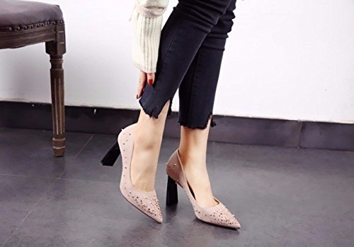 Pink Leisure Shoes Heels Sexy Elegant Coarse Work Fashion High 39 Elegant Pointed Lady Spring Mouth 9Cm All Rivets And Shallow MDRW Match With pw41Aqtx