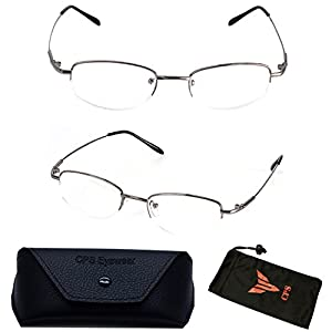 (#308 Slv) 1 Pair Nearsighted Myopia Lens Oval Shape Metal Wired Optical Frameless Lightweight Glasses (Strength: -350)