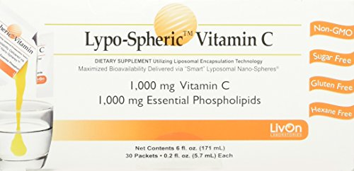 Lypo-Spheric Vitamin C - 30 Packets | 1,000 mg Vitamin C Per Packet | Liposome Encapsulated for Maximum Bioavailability | Professionally Formulated | 100% Non-GMO, Ultra-Potent Vitamin C | 1,000 mg Essential Phospholipids Per Packet (120 count) by LivOn Labs