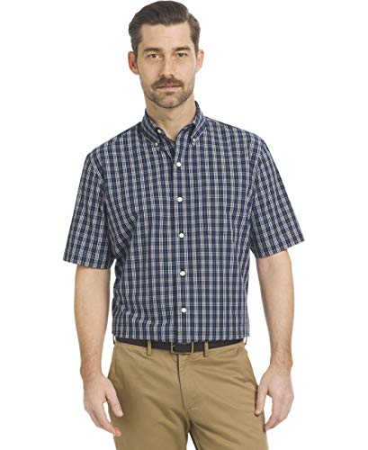 (Arrow 1851 Men's Big and Tall Hamilton Poplins Short Sleeve Button Down Plaid Shirt, Navy Blazer 1, 2X-Large)