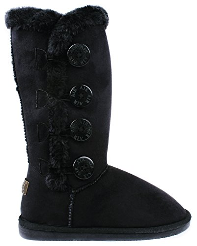 AMY Women Black Wooden Button Faux Fur Lined Shearling Mid Calf Winter Boots-7 ()