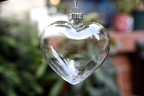 6 x hanging clear heart shape glass baubles ornaments for Outside christmas baubles