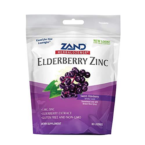 Zand HerbaLozenge Elderberry Zinc | Good-for-You Lozenges for Dry Throats | No Corn Syrup, No Cane Sugar, No Colors | 80 Lozenge ()