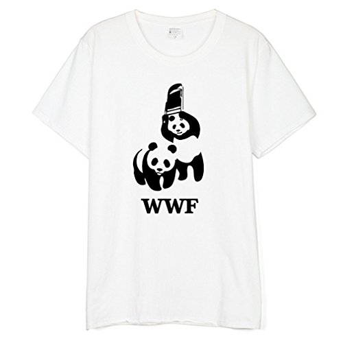 66b8e87ef42 Honghu Men s Panda Graphic WWF Funny Cotton T-Shirt Size L White Black