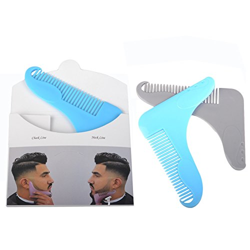 Darkyazi 2 pcs Beard Shaping Trimmers Comb, Mustache Jaw Line Styling and Shaping Template Comb Brush Tool for Men's Shaving Sets.