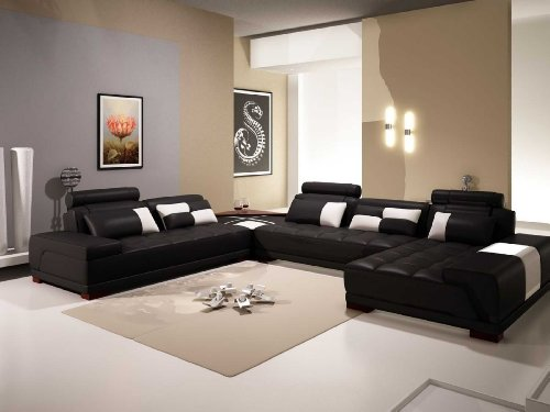 VIG Furniture VGEV-SP-5005BBLK Divani Casa 5005B - Modern Bonded Leather Sectional Sofa w Ottoman and Glass End