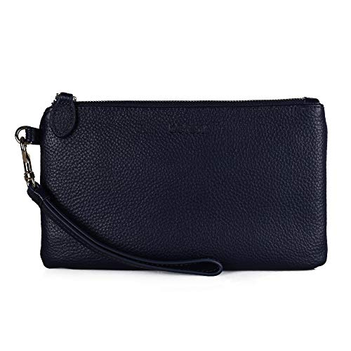 Befen Women Genuine Leather Clutch Wallet, Smartphone Wristlet Purse - Fit iPhone 8 Plus (Navy Blue)