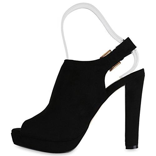 Stiefelparadies Damen Sandaletten Plateau Blockabsatz High Heels Schuhe Flandell Schwarz Total