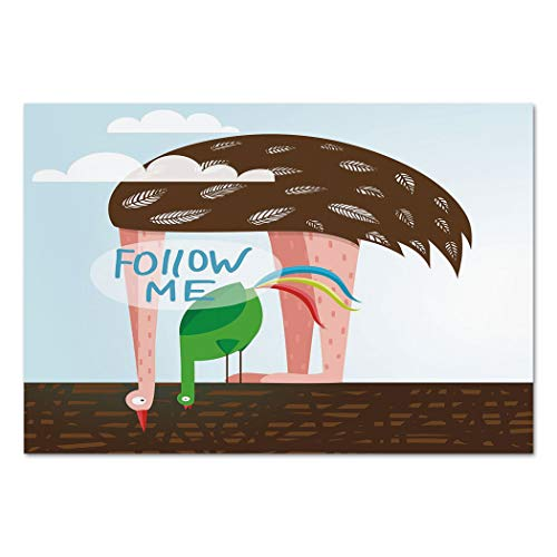 Ostrich Cross (Large Wall Mural Sticker [ Quirky Decor,Ostrich and Rooster Eating on Roof Birds with Long Necks and Follow Me Label Decorative,Multicolor ] Self-adhesive Vinyl Wallpaper / Removable Modern Decorating)