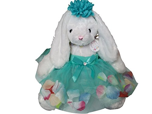Easter Rabbit Basket Stuffer Little Bunny Tutu, Teal Headband,Stuffed Animal Plush Gift Set Fits 12 Months to