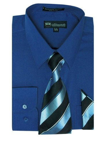 TDC Men's Basic Dress Shirt With Matching Tie And Hankie SG21A-Royal-17-17 1/2-36-37