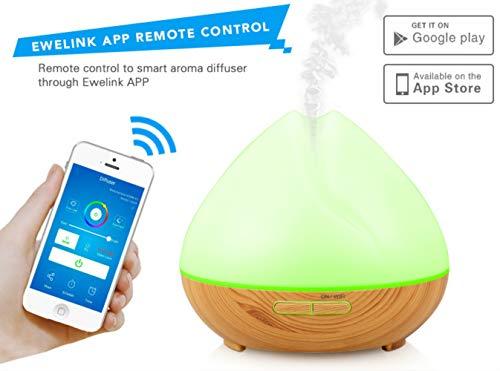 Essential Alexa Control Smart Oil Diffuser /400ml Wood ultrasonic humidifier air