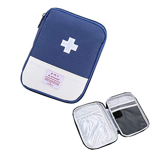 iMapo Portable Mini First Aid Kit, Empty Travel Medicine Bag, Small Medical organizer storage Pouch, Pill Drug Package Container for Outdoor Activities Sports Camping Hiking Emergency -Blue (Bag ()