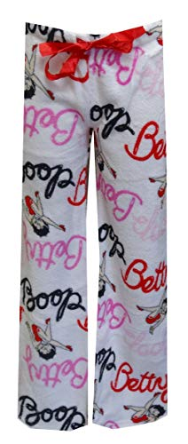 Lounge Betty Boop Pants - Betty Boop Women's Signature White Plush Lounge Pants (Small)