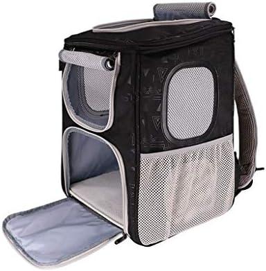 コンフォートキャッツ犬のキャリアバックパック、旅行用に設計されたペットクラブ用ソフトクレート、屋外用、ブルーグリーンブラック (色 : 黒)