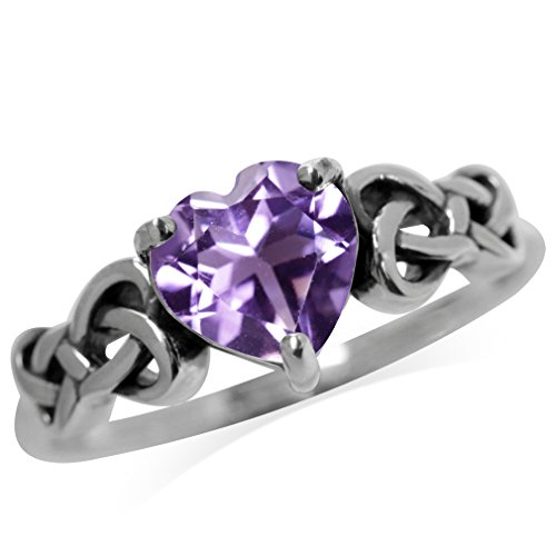 1.04ct. Natural Heart Shape Amethyst 925 Sterling Silver Celtic Knot Ring Size 6