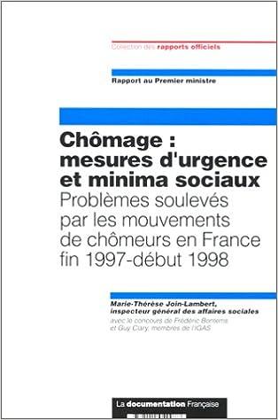Livre gratuits Chômage : Mesures d'urgence et minima sociaux. Problèmes soulevés par les mouvements de chômeurs en France fin 1997-début 1998 epub, pdf