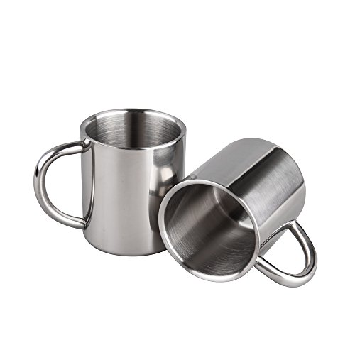 - IMEEA 7.8Oz (220ml) Brushed Stainless Steel Double Wall Mugs Tea Cups Drinking Cups for Kids, Set of 2