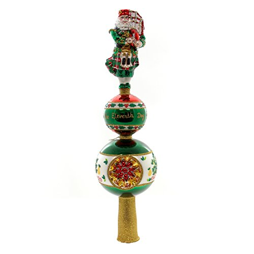 Christopher Radko Piper Piping Finial Santa Claus Christmas Tree Topper (Radko Glass Tree Topper)