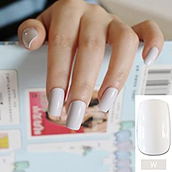 Amazon.com : UV Effect Light Pink False Nails Tip French Full Cover Medium Length Square Fake Nail ABS Artificial DIY Nail Manicure 20 Colors WM : Beauty