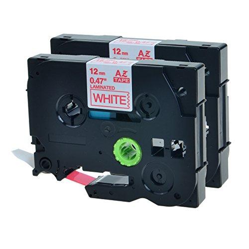 NineLeaf 2 PK TZ 232 TZ-232 TZe232 Red on White Label Tap...