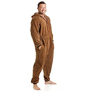 Camille Mens All In One Caramel Leopard Print Fleece Hooded Pocketed PJ Onesie