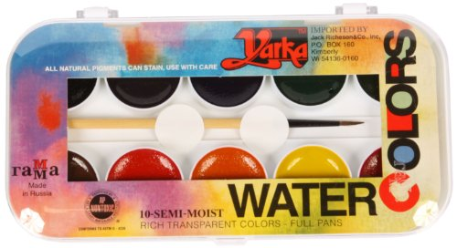 (Jack Richeson 38010 Yarka Student Semi Moist Watercolor, Set of 10)