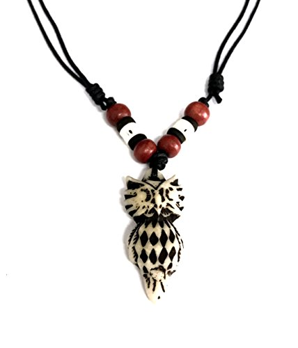 [Resin Owl Pendant Necklace - Lucky Owl Necklace - Wood Beaded with Adjustable Black Cord] (Phoenix Costume Diy)