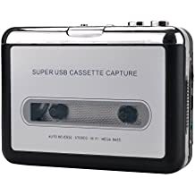 Portable Super USB Cassette Capture Cassette Tape to MP3 Converter and Player with Headphones Auto-Reverse Function Software Play as Walkman