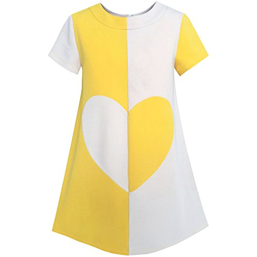 Sunny Fashion KH96 Girls Dress Color Contrast Heart A-line Size 12