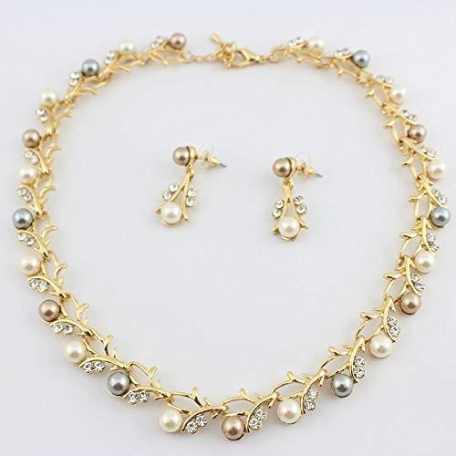 63c9a669322350 Amazon.com: Hot Imitation Pearl Wedding necklace earring set Bridal jewelry  set for women Elegant Party Gift Fashion Costume: Kitchen & Dining