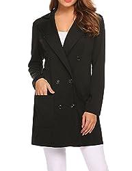 Se Miu Women S Winter Woolen Coat Long Slim Wool Trench Coat Black L