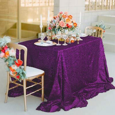 KSFDNV Konferenztafel, Hochzeitstraksel, Thementisch-Cover, Rosa Pailletten-tablette, Rundtisch-tablette, Silbernes Tischtuch, Party 228335cm Edel lila