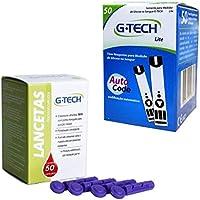 Kit 50 Tiras Medir Glicose Glicemia + 50 Lancetas Gtech