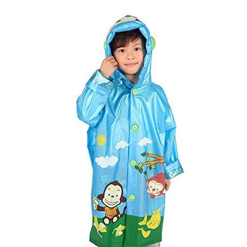 [Ezyoutdoor Unisex Kids Blue Children Hooded Raincoat Rain Jacket Poncho with School Bag Cover Children Raincoat Cartoon Poncho,Little Monkey] (Blue Ninja Costume Walmart)