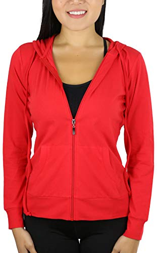 (ToBeInStyle Women's Thin Fabric L.S. Zip Up Hoodie - Red - Small)