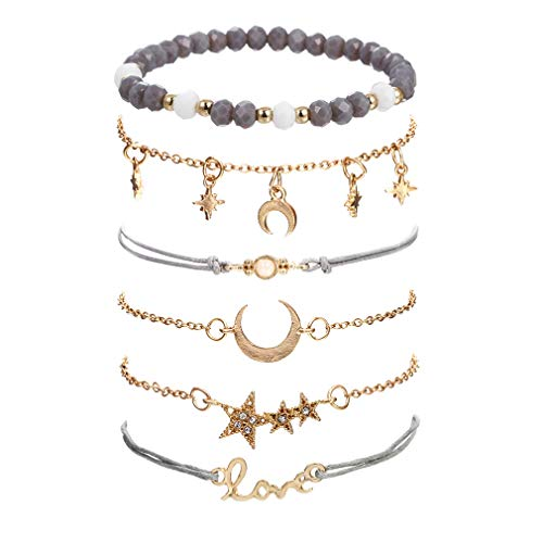 VONRU Beaded Bracelets for Women - Adjustable Charm Pendent Stack Bracelets for Women Girl Friendship Gift Rose Quartz Bracelet Links with Pearl Gold Plated (Star & Grey Bead)