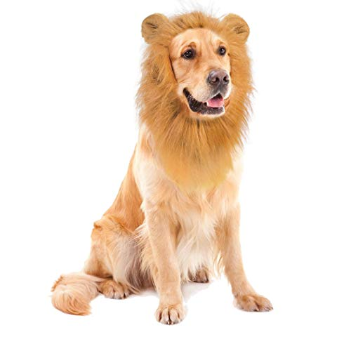 Amazon.com : Dog Lion Mane with Ears Dog Costume Pet Lion Mane Wig for Large Medium Dogs Hair Holloween Christmas Festival Party Fancy Dress Up Clothes ...