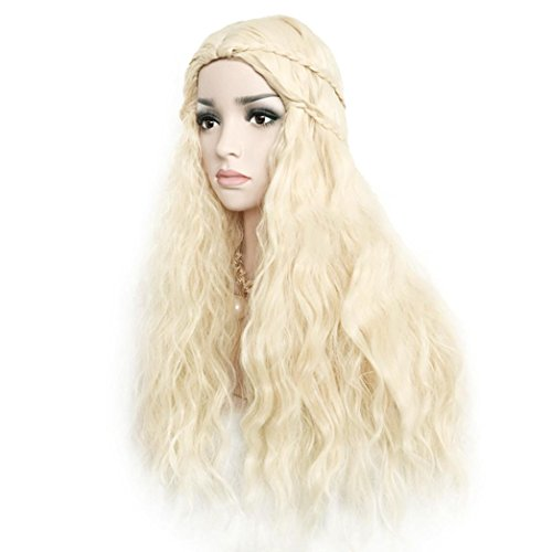 Fake Hair,vmree 65 CM Light Gold Grading Long Curly Hair Christmas Wigs for Women Girl Party Wedding (Light Gold) (Grading Light)