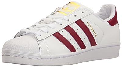 Adidas ORIGINALS Women's Superstar Sneaker, White/Collegiate Burgundy/Gold Metallic, 7.5