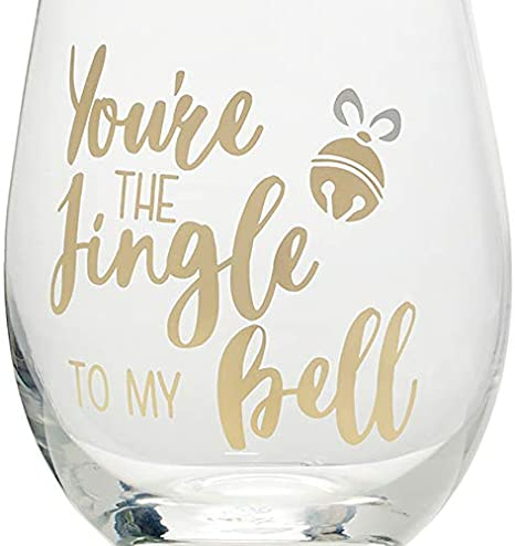 468 ml Mikasa Celebrations Stemless Wine Glasses with Decorative Mr Right and Mrs Always Right Prints Set of 2 Clear//Gold