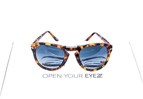 Persol PO0714 Madreterra Foldable Polarized Sunglasses. Size 54. Color 1052S3. Blue - Po0714