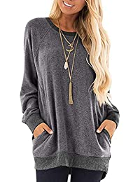 Womens Casual Color Block Long Sleeve Pocket Sweatshirts T Shirts Round Neck Blouses Tops