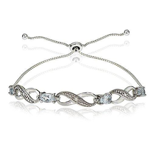 Sterling Silver Aquamarine Figure 8 Infinity Adjustable Bolo Bracelet Aquamarine Gemstone Jewelry