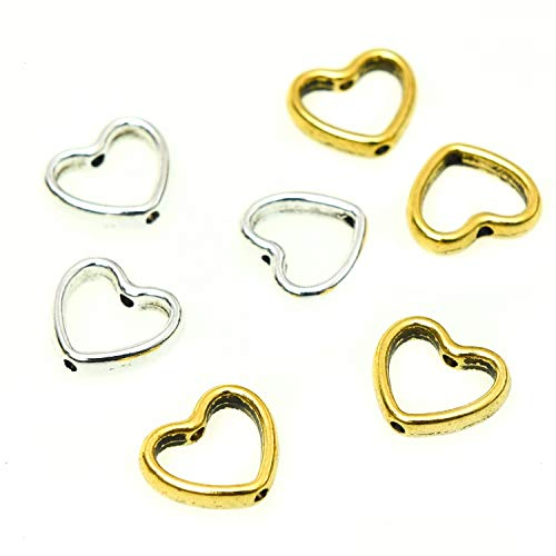 Monrocco 100 Pcs Hollow Heart Charm Loose Metal Beads for Craft DIY Jewelry Making, Gold and Silver