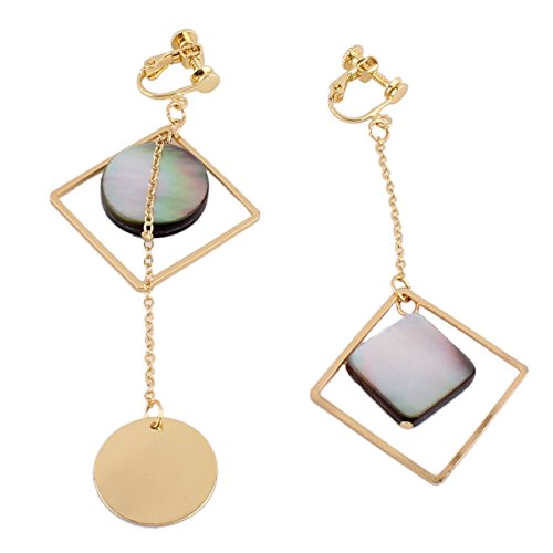 Vintage Copper Gold Color Round Square Shell drop earrings for Women Party Long Chain Earrings (Clip on)