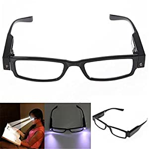 Bright Light Reading Glasses Eyeglasses Credit Card Magnifier Nighttime LED Readers Glasses Eyewear with Light Hands Free Illumination Elegant Black Full Frame Spectacle Diopter Magnifier Light +2.00